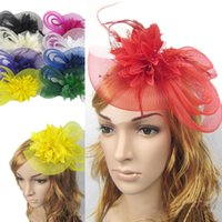 Wholesale Church Hats Fascinators - Sinamay Fascinator Hat Feathers Simple Elegant Church Wedding Races Carnival Fascinator Sweet Hair Accessories Hairpin Headd