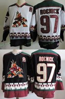 Wholesale Roenick Jersey - Men's Embroidery Phoenix Coyotes #97 Jeremy Roenick Black White 1998 CCM Vintage Stitched Ice Hockey Throwback Jerseys Adult Size S-3XL