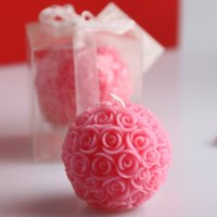 Wholesale Handmade Party Favors - Fragrance Rose Ball Candle Random Color Wedding Favors Handmade 3D Pink Candles Creative Ideas For Wedding  Party Decor
