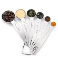 ingrosso cucchiaio da forno-Cucchiaio in acciaio inox Utensile da cottura in 6 pezzi, cucchiaio graduato cucchiaio da cucina circolare cucina Utensili Utensili per caffè Latte in polvere
