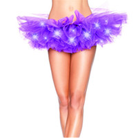 Wholesale Adult Rainbow Costume - Fashion colors dance LED tutu mini skirt Up Neon Fancy Rainbow Mini Tutu Fancy Costume Adult light Skirt Q0115