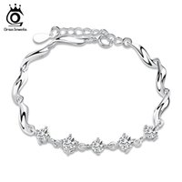 Wholesale High Polished Silver Link Bracelet - Austria Crystal Bracelet,S925 Sterling Silver Material with 3 Layer Platinum Plating,Perfect Polished,High Quality OB12