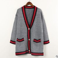 Wholesale Womens Wholesale Cotton Cardigan - Lady knitting cardigan coat European and American style women stripe deep V-neck outwear womens pearl single breasted loose cardigan R1082