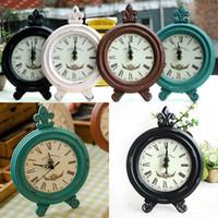 horloge de table gratuit achat en gros de-Vintage En Bois Rond Ovale Horloge Mode Maison Salon Chambre Décor 8 Couleur Table Horloge Livraison Gratuite WX9-42
