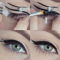 Wholesale Eyeliner Shaper - Hot sale 110Pcs 2 Styles Beauty Cat Eyeliner Models Smokey Eye Stencil Template Shaper Eyeliner Makeup Tool