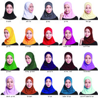 Wholesale Muslim Girls - Wholesale muslim MINI hijab Crystal linen cloth woman bonnets lady girls muslim wares many pure solide colors offer choose