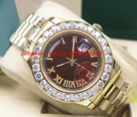 bracelet de diamant marron achat en gros de-Montre-bracelet de luxe Amazing Brown Dial Mens 2 II 18k 41MM Or Jaune Bigger Diamond Bezel Mouvement automatique Montres Mécaniques Hommes