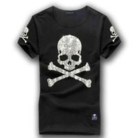 camisa de diamante de crânio venda por atacado-MMJ mastermind japão brilhante diamante strass arma crânio o pescoço curto-luva de algodão t-shirt tee branco e preto cor
