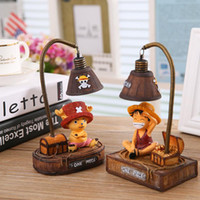 Wholesale New Ornaments Lights - One Piece LED Night Light Luffy Handicraft Reading Lamp Japanese Anime Luminaria Table Lamp Chopper Home Decoration