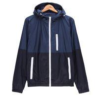 Wholesale running windproof jacket - Wholesale- Mens Spring Running Thin Jacket Waterproof Windbreaker Light Weight Windproof Outdoor Sports Jacket with Front-Zip