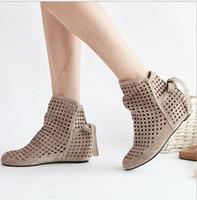 Wholesale Lace Cutout Boots - Wholesale-Big Size 34-43 Women's Summer Boots Flat Low Hidden Wedges Cutout Ankle Boots Ladies Dress Casual Shoes Hot sale Cute Flock P26