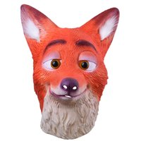 Wholesale Realistic Rubber Masks - Full Head Adult Mask Fox Head Mask Funny Nick Fox Latex Breathable Realistic Crazy Rubber Party Cosplay Halloween Mask