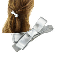Wholesale Punk Bowknot - Punk Style Fashion Hair Jewelry Gold Color Silver Color Pu Leather Hairpins Bowknot Hairwear For Women Accessories