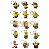 Wholesale Despicable Pvc Figures - Top selling 20pcs lot Despicable me Minions PVC Cartoon Keychain Action Figure Key Ring Kids toy gift Key Chain Holder Pendant