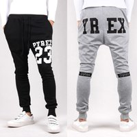 Großhandel-2016 Herren Jogger Pyrex 23 Fashion Low Drop Gabelung Harem Hosen Hose Hip Hop Slim Fit dünn Sweatpants Männer für Fashion Dance