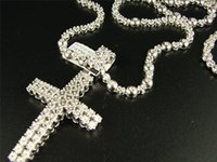 """Wholesale Yellow Rosary - 1 Row Men's Rosary Chain with Cross in Natural Diamond White Gold Finish 34"""""""