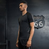 Wholesale Mens Running Clothing - Short Sleeves T Shirt Men Compression Sporting Tops Running Tees Bodybuilding Fitness 2017 New Mens Tight Gyms Clothing