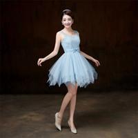 mavi güzel gelinlik toptan satış-2018 Yeni Sky Blue Kısa Gelinlik Modelleri Kadın Sapanlar Düğün Balo Parti Kokteyl Zarif Abiye giyim Güzel Ucuz Elbiseler