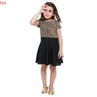 Wholesale Kids Leopard Cap - Girls Dress Short Sleeve Leopard Patchwork Dresses Party Baby Girl Elegant WearChildren Clothing A-Line Kids Pleated Midi Dress Hot SV021085