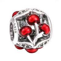 Wholesale Sweet Cherry Bracelet - Authentic 925 Sterling Silver Bead Charm Openwork Enamel Sweet Cherries Beads Fit Women Pandora Bracelet Bangle Diy Jewelry HK3641