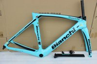 Wholesale Carbon Seatpost Ud - 5 color bianchi XR4 T1000 green aero bicycke carbon frame +seatpost+clamp+headset+fork carbon road frame with BB386 size 50cm 53cm 55cm 57cm