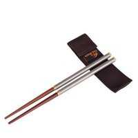 Wholesale Chopsticks Portable - New Free Shipping Titanium Folding Chopsticks Outdoor Picnic Camping Kitchen Used Portable Mahogany Chopsticks Tableware Chopsticks