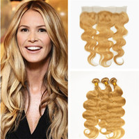 Wholesale Strawberry Blonde Hair Color Extensions - #27 Honey Blonde Malaysian Virgin Hair Body Wave Human Hair 3 Bundles With Lace Frontal Closure Strawberry Blonde Hair Weaves Extensions