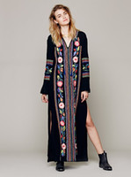 Wholesale Maxi Cotton Long - 2017 European fashion style cotton long dress spring hot embroidery bohe maxi dress side slit flower embroidery design dresses