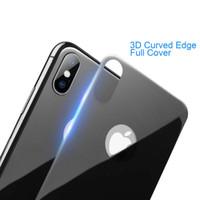 temperli cam ekran koruyucusu renkleri iphone toptan satış-3D Kavisli Kenar Temperli Cam Arka Ekran Koruyucu Apple iPhone X için Cam Çizilmez Arka Filmi Ultra Ince Renkler Koruyucu Paketi ile