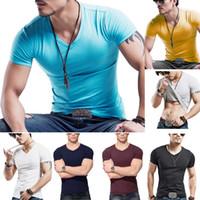 Wholesale Boys V Neck T Shirts - 2017 Men Boy Summer Casual Cotton V Neck Sports Short Sleeve T Shirt Fashion Fit Cool