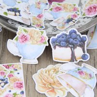 autocollant de pot de fleurs achat en gros de-26pcs Europe Style Tea Set Cup Tea Pot Flower Cake Scrapbooking Autocollants DIY Craft Decorative Sticker Pack