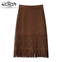 Acrylic cashmere pencil skirt - MELANSAY Fashion Tassels All match Retro Skirt High quality Cashmere Delicate Hollow Pencil Skirt Top Sales Summer Skirt