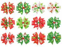 Wholesale ribbon bow hair pin - 3 inch Baby Bow Hair Clips Christmas Grosgrain Ribbon Bows WITH Clip Snow Baby Girl Pinwheel Hairpins Xmas Hair Pin Accessories KFJ97