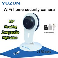 Wholesale Security Microphones - HD 720P Home Protection p2p wireless Mobile Remote mini Wifi Security ip Camera white audio Support 64G SD Card with Microphone and Speaker