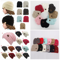Wholesale Parents Kids CC Hats Baby Moms Winter Knit Hats Warm Hoods Skulls Hooded Hats Hoods YYA585