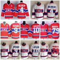 maurice richard hockey jersey al por mayor-Montreal Canadiens Jerseys Hockey sobre hielo 4 Jean Beliveau Jersey Retro Rojo Blanco 10 Guy Lafleur 79 Andrei Markov 9 Maurice Richard