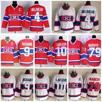 maurice richard hockey jersey großhandel-Montreal Canadiens Trikots Eishockey 4 Jean Beliveau Trikot Retro Rot Weiß 10 Guy Lafleur 79 Andrei Markov 9 Maurice Richard