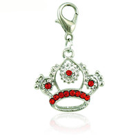 Wholesale Crown Rhinestone Pendant - New Fashion Lobster Clasp Charms Dangle Rhinestone Pierced Imperial Crown Pendants DIY Making Jewelry Accessories Wholesale