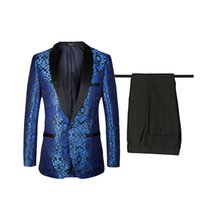 Wholesale Men Wool Business Suits - TOTURN 2017 New Fashion Suit Men Blue Silver White Men Suits for wedding printed BlazerTuxedos Terno Slim business suit brands men