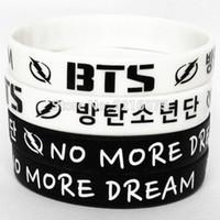 Wholesale K Bar Wholesale - Wholesale- 50pcs black and white even mix NO MORE DREAM K-POP BTS wristband silicone bracelets free shipping