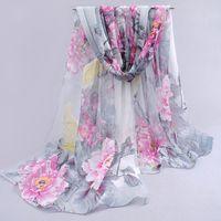 Wholesale Dots Chiffon Scarf - Wholesale-dots hot women 2016 peones chiffon georgette silk women's scarves spring autumn summer sun modern hijab style! wholesale fq053
