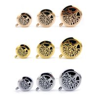 Wholesale Tree Life Oils - Hot Sale Round Silver Tree of Life (20-30mm) Aromatherapy   Essential Oils Stainless Steel Perfume Diffuser Locket Necklace