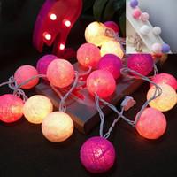 baumwoll-string-kugeln groihandel-Neues Design Mixed 20 Ball Lichter Multi-Farbe Baumwolle Ball String Licht Für Home Party Hochzeit Weihnachten Garten Kinderzimmer Dekoration
