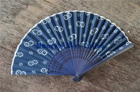 Wholesale Dyeing Handmade Cotton Blue calico Indigo Blue Printing Fabric White Porcelain Cloth Folk Style folding fan with cloth bag gift