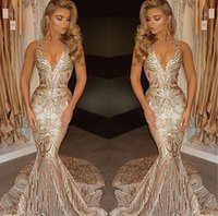 Wholesale Mermaid Dresess - Gorgeous Deep V Neck Mermaid Sequins 2017 Prom Dresses Sexy Spaghetti Straps Champagne Long Party Occasion Gowns Evening Dresess BA4582