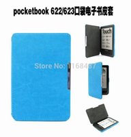 Atacado- Magnetic Slim Flip Case PU Couro Couro Protector Cover Shell para PocketBook 622/623 Touch Book Style