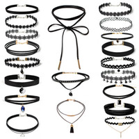 Wholesale Chocker Statement Necklaces - Bahama Statement Jewelry Wholesale 20pcs lot Women's Chocker Trendy Lace Chokers Necklaces for Women Black Velvet Choker Leather Necklace