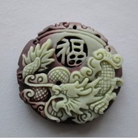 Natural Purple Jade Dragon Lucky Pendants Colar Chinês ZiPao Yu Carved Jade Pendant Fine Jade Jóias Free rope