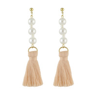 Wholesale Tassel Pearl Mother - Newest Fashion Jewelry Gold Plated Alloy Three Pearls Design with Bundle Threads Tassels Drop Earrings for Women