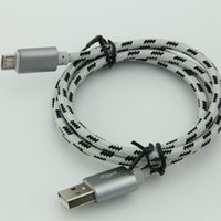 Wholesale Shell Connectors - Micro USB Cable with Metal shell Gold-plated Connector Braided wire forAndroid devices Smartphone